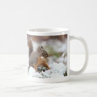 Cute Squirrel in Snow with Peanut Coffee Mug