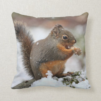 Cute Squirrel in the Snow Photo Throw Pillow