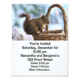 "Cute Squirrel in Winter 4.25"" X 5.5"" Invitation Card"