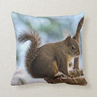 Cute Squirrel in Winter Throw Pillows