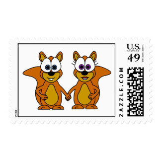 Cute Squirrel Love Cartoon Postage Stamp