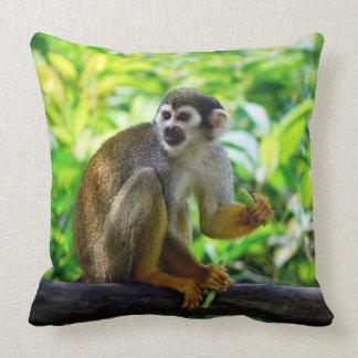 Cute squirrel monkey throw pillow