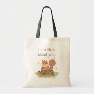 Cute Squirrel Nuts About You Pun Love Humor Tote Bag
