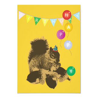 Cute Squirrel & Nuts Yellow Birthday Invitations