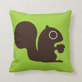 Cute Squirrel on Green Customizable Pillows