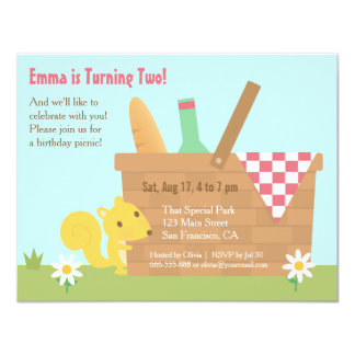 Cute Squirrel Park Picnic Kids Birthday Party Card