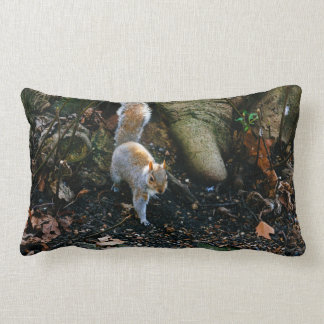 Cute Squirrel Photograph, Animal In Forest Lumbar Pillow