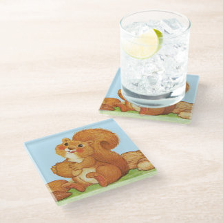 Cute Squirrel Rosy Cheeks Eating Acorns Nuts Glass Coaster