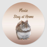 Cute Squirrel Says Please Stay at Home Stickers