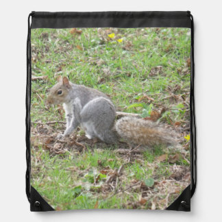 Cute Squirrel Scratching Drawstring Backpack
