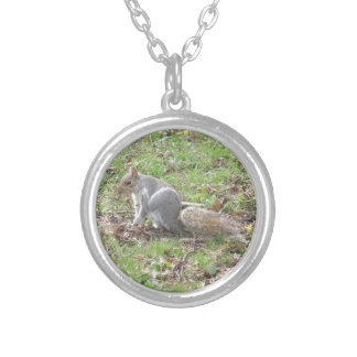 Cute Squirrel Scratching Round Pendant Necklace