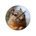 Cute Squirrel Smiling Closeup Photo Round Wallclock