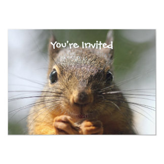 Cute Squirrel Smiling Macro Photo 5x7 Paper Invitation Card