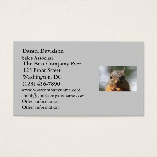 Cute Squirrel Smiling Photo Business Card