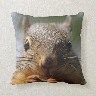 Cute Squirrel Smiling Photo Throw Pillows