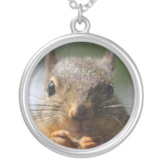 Cute Squirrel Smiling Photo Round Pendant Necklace