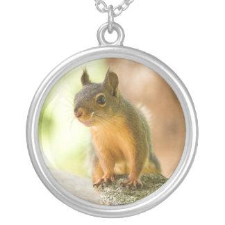 Cute Squirrel Smiling Round Pendant Necklace