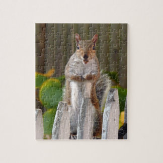 Cute Squirrel Standing on Fence. Jigsaw Puzzle