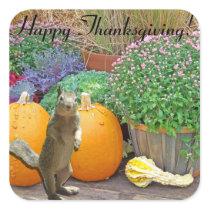Cute Squirrel Thanksgiving Square Sticker