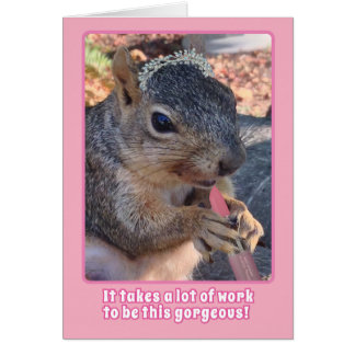 Cute Squirrel Tiara and Lipstick Happy Birthday Card