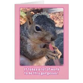 Cute Squirrel Tiara and Lipstick Happy Birthday Greeting Card