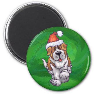 Cute St. Bernard in Santa Hat on Green 2 Inch Round Magnet