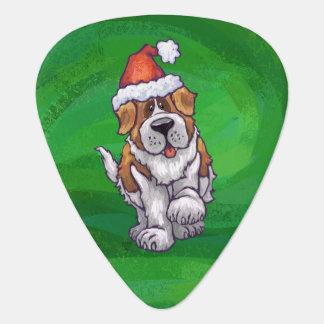 Cute St. Bernard in Santa Hat on Green Guitar Pick