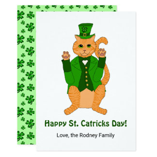 Cute St Catricks Day Funny Lucky Cat Shamrock Card