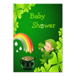 """Cute St. Patrick's Day Baby Shower 5"""" X 7"""" Invitation Card"""