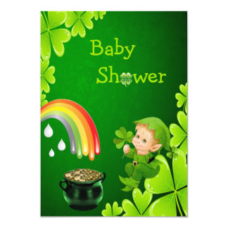 "Cute St. Patrick's Day Baby Shower 5"" X 7"" Invitation Card"