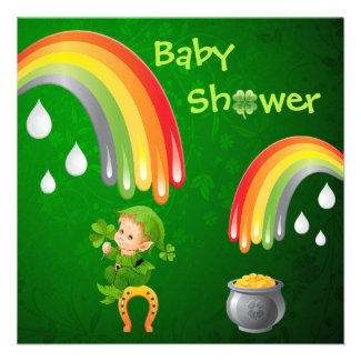 Cute St. Patrick's Day Baby Shower Personalized Announcement