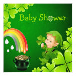 """Cute St. Patrick's Day Baby Shower 5.25"""" Square Invitation Card"""