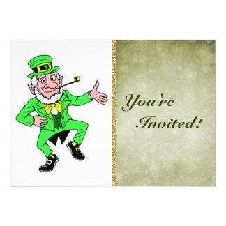 Cute St. Patrick's Day Dancing Leprechaun Personalized Invite