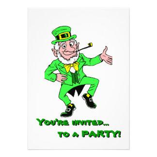 Cute St. Patrick's Day Dancing Leprechaun Invitation