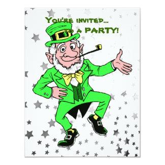 "Cute St. Patrick's Day Dancing Leprechaun 4.25"" X 5.5"" Invitation Card"