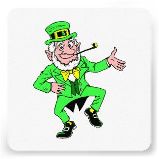 Cute St. Patrick's Day Dancing Leprechaun Custom Invitations