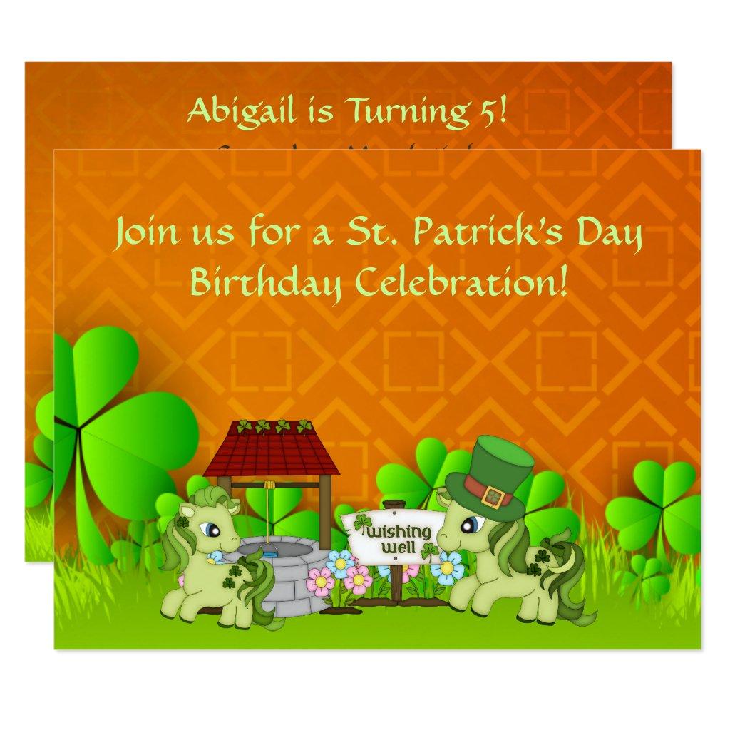 Cute St Patrick's Day Horse Birthday Invitation