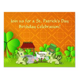 "Cute St Patrick's Day Horse Birthday Invitation 4.25"" X 5.5"" Invitation Card"