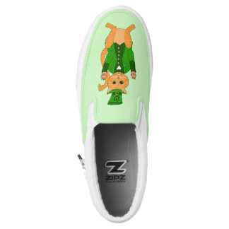 Cute St. Patrick's Day Lucky Cat Monogram Name Slip-On Sneakers