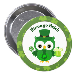 Cute St Patrick's Day Owl Button