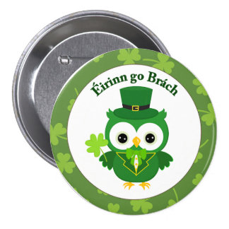 Cute St Patrick's Day Owl 3 Inch Round Button