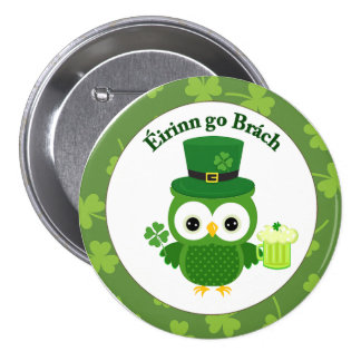 Cute St Patrick's Day Owl Pinback Button
