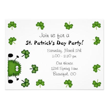 Cute St Patrick's Day Party Invitation