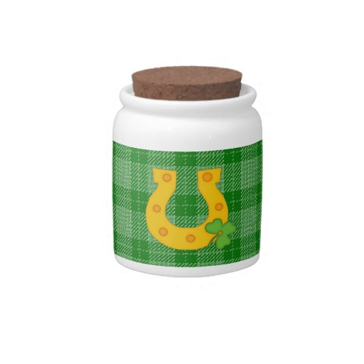 Cute St. Patrick's Day Plaid with Horse Shoe Candy Dish