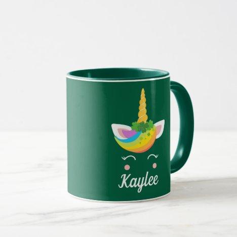 Cute St. Patricks Day Unicorn Monogram Green Girly Mug