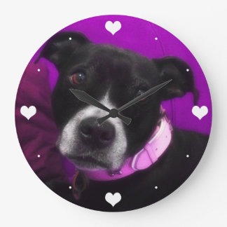 Cute Staffy Puppy Dog (or Photo of Your Pet) Large Clock