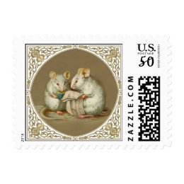 Cute Stamp for Book Lovers - Mice Reading