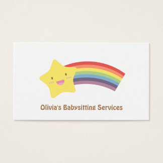 Cute Star and Rainbow Babysitting Business Cards