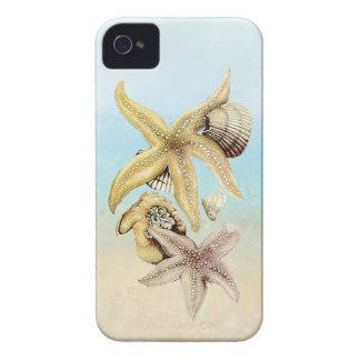 Cute Star Fish & Seashells Summer Beach Theme iPhone 4 Case-Mate Cases