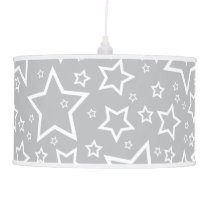 Cute Star Patterned Pendant Lamp in Silver